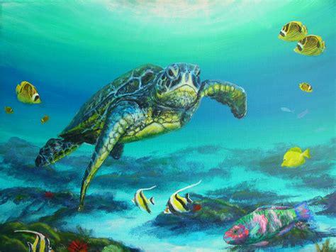 Underwater Sea Turtle Watercolor Painting