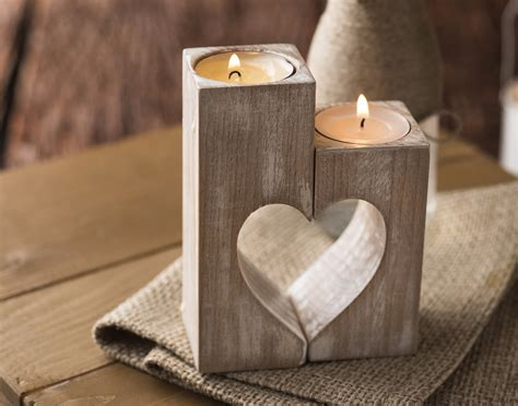 home interior color design wooden candle holders rustic candle holders wood hearts