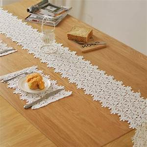 European style upscale white lace table runner Christmas