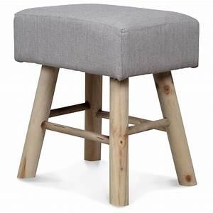 Tabouret Bas Bois : tabouret bois massif assise tissu beige karni ~ Teatrodelosmanantiales.com Idées de Décoration