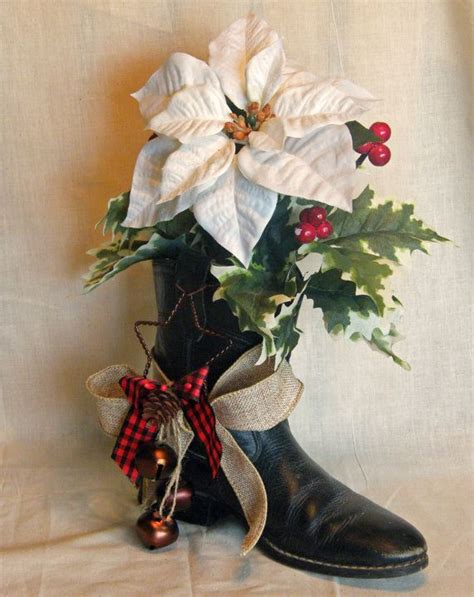 cowboy boot christmas decoration floral by cheekersdenim on etsy 25 00 craft ideas
