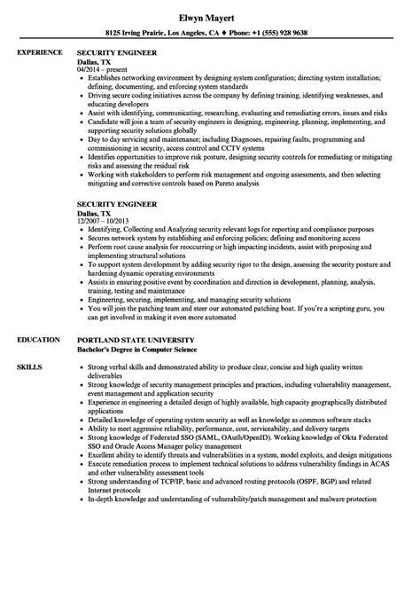 security engineer resume samples velvet jobs