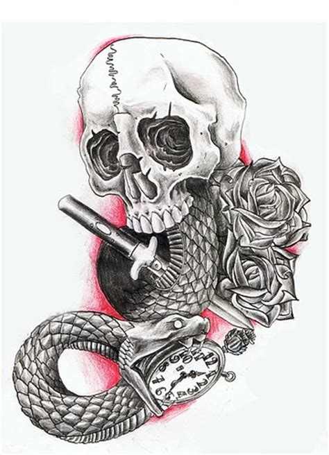 snake skull tattoos design