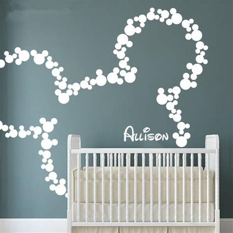 deco chambre minnie mickey mouse wall stickers personalized baby name minnie