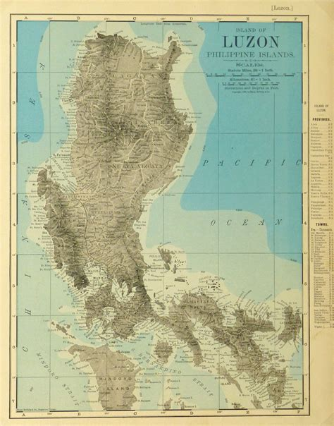 Luzon Island Philippines Map 1895 Original Art