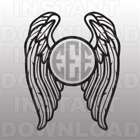 wings svgangel wings svgmonogram svg filecutting template vector clip art  commercial