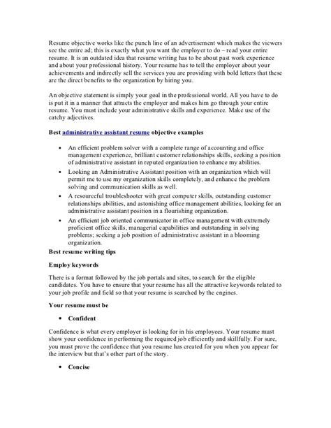 resume exles administrative assistant objective resume