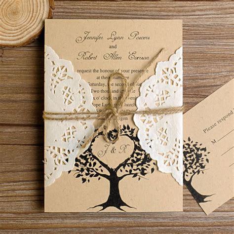 Rustic Wedding Invitations With Free Response Cards