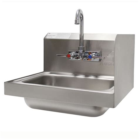 advance tabco 7 ps 66r wall mount commercial sink w 14 quot l x 10 quot w x 5 quot d bowl side splashes