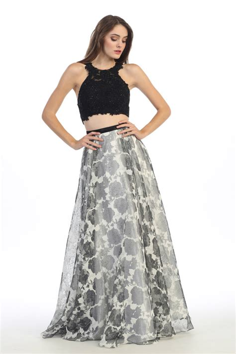 Prom Floor Length Two Piece Set Lace Top Homecoming