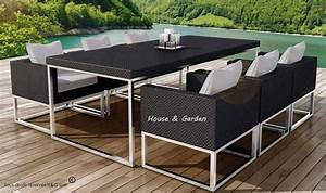 Coussin Pour Salon De Jardin En Resine Tressee : table et 6 fauteuils encastrable de qualit en r sine tress e noire ~ Teatrodelosmanantiales.com Idées de Décoration