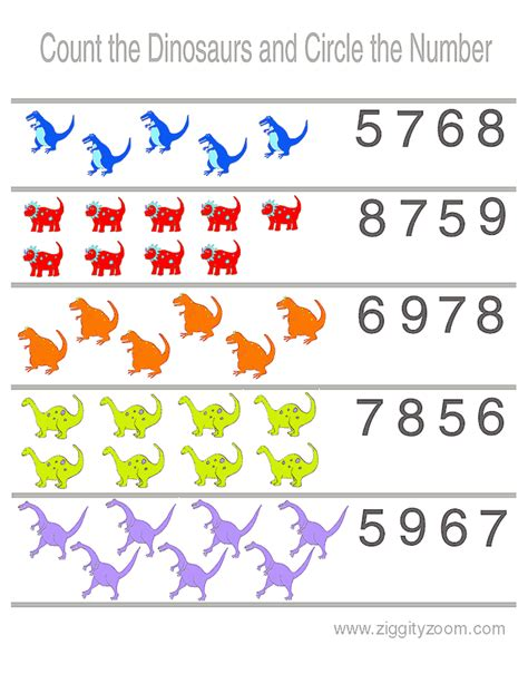preschool worksheet counting dinosaurs dinosaur 210 | 7d43c68f7535be52c20dd67df6d58d9b