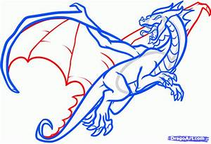 How to Draw a Flying Dragon, Dragon in Flight, Step by ...