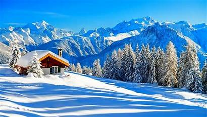 Winter Cabin Mountain Wallpapers Snow Nature Lodge