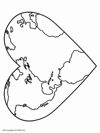 Coloring Map Earth Colouring Heart Printable Pages