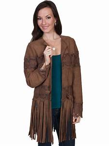 Scully Vest Size Chart Scully Ladies Brown Lamb Suede Long Fringe Crochet