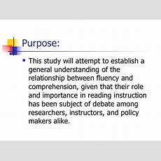 The Effects Of Fluency On Reading Comprehension