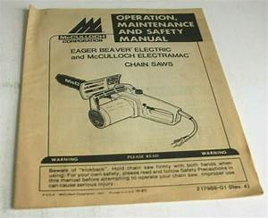 Mcculloch Owners Manual Of Operating Instructions Chain