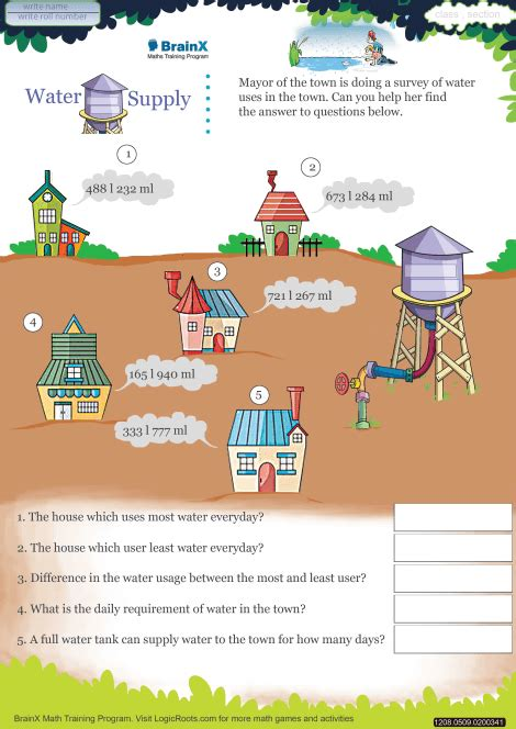 water supply math worksheet  grade   printable