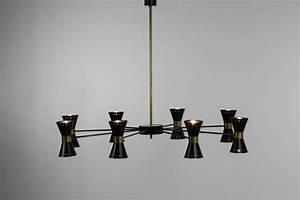 Grand Lustre Moderne : grand lustre italien moderne diabolo noir 8 branches danke galerie ~ Teatrodelosmanantiales.com Idées de Décoration