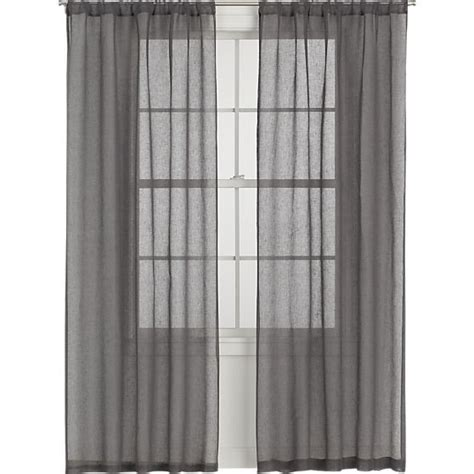 linen sheer grey curtain panels