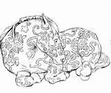 Sculpture Coloring Lion Statue sketch template