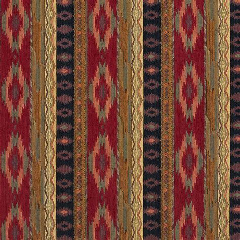 Upholstery Material by Black And Burgundy Southwestern Mexican Ranch Stripe