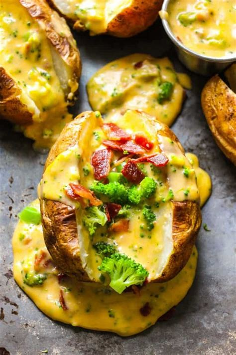 baked potatoes loaded  broccoli bacon cheese sauce