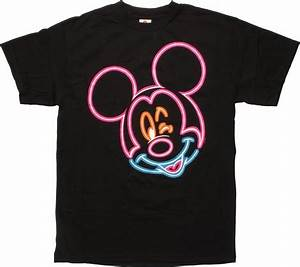 Mickey Mouse Winking Neon Outline T Shirt