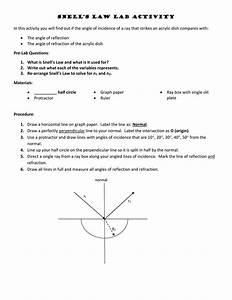 Snells Law Practice Problems Worksheet Answers
