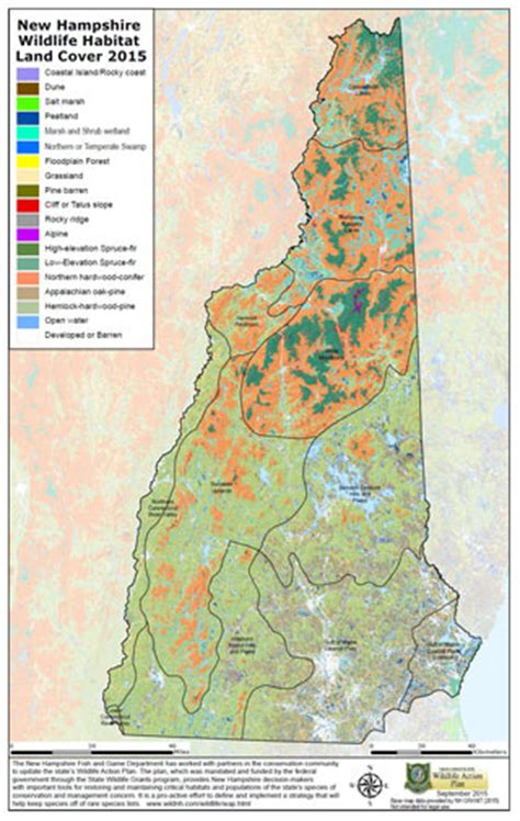nh wildlife action plan  habitat maps wildlife