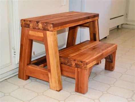 Folding Two Step Wood Stool, Custom Wood Finish & Height