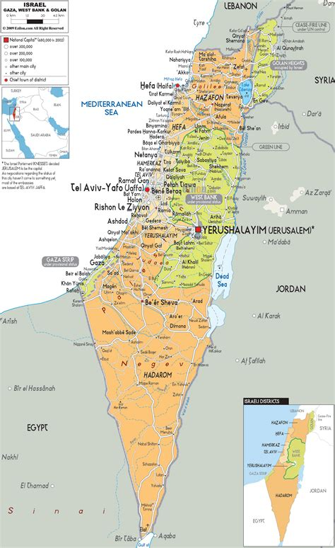 Detailed Political Map Of Israel Ezilon Maps