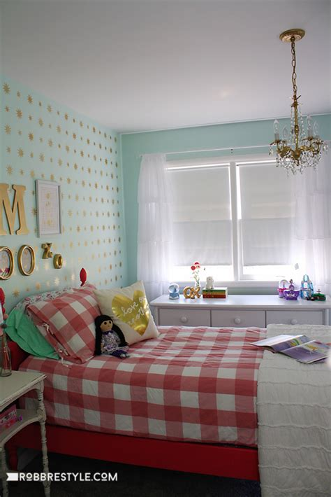 mint gold star stencil girls room robb restyle