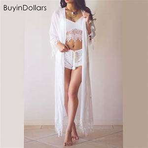 Summer Women's White Long Beach Kimonos Chiffon Ankle ...