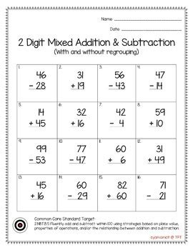 2 digit mixed addition subtraction with and without regrouping worksheet