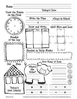 daily math and number of the day recording sheet by