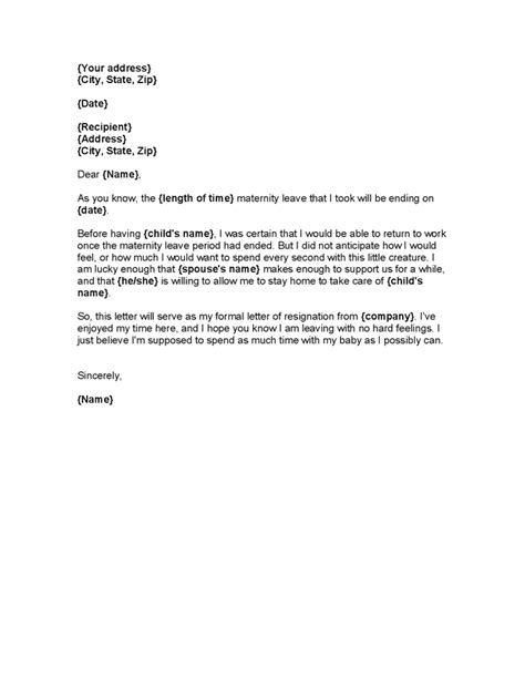 sample maternity leave letter   sample letter