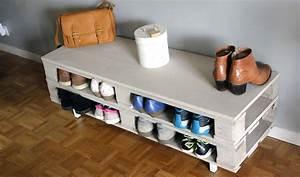 Banc Range Chaussures : diy un meuble en palette tr s pratique id al comme rangement chaussures ~ Teatrodelosmanantiales.com Idées de Décoration