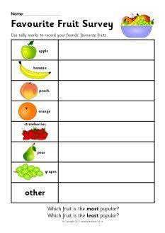 favourite fruit survey worksheet sb sparklebox