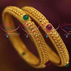 handmade wedding rings b7183 one gram leaf gold design kemp traditional bangles green