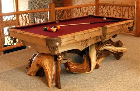 Unique Pool Table, Exotic Wood Pool Table, Artistic Log Pool