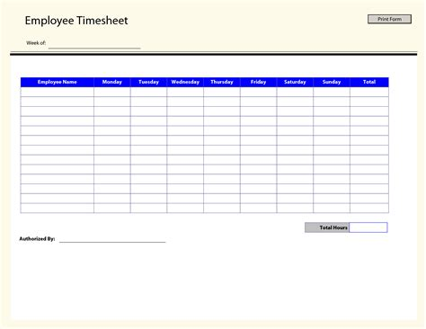Time In Sheet Template Online Free by 9 Best Images Of Printable Employee Timesheet Templates