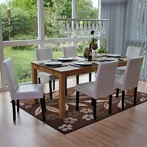 Lot De 6 Chaises Salle à Manger : lot de 6 chaises de salle manger simili cuir blanc pieds fonc s cds04248 d coshop26 ~ Teatrodelosmanantiales.com Idées de Décoration