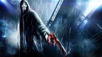 Fawkes Guy Gun Rain Mask Vendetta Computer