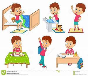 Kids daily routine stock vector. Illustration of cute ...