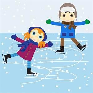 Skøjteløb dreng og pige vektor illustration stock vektor Colourbox