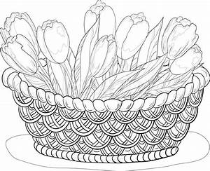 Basket with flowers, contours | Stock Vector | Colourbox