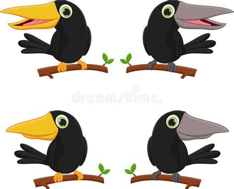 Cartoon Crow Sitting On Tree Branch Stock Vector