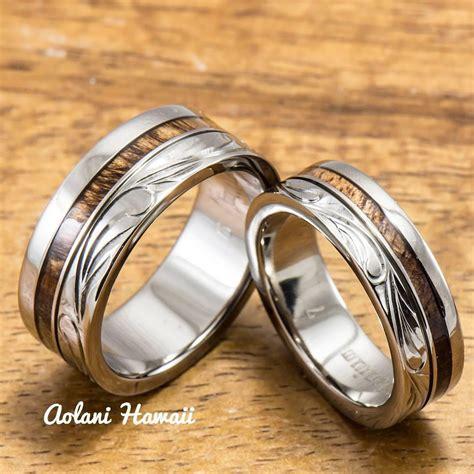 wedding ring connectors titanium ring with hawaiian koa wood inlay 6mm 8 mm 9939